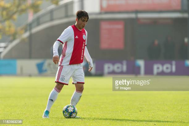 Filip Frei of Ajax Amsterdam U19 controls the ball during the UEFA Youth League match between AFC Ajax and Chelsea FC on October 23 2019 in Amsterdam...