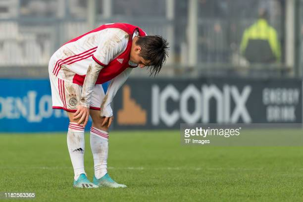 Filip Frei of Ajax Amsterdam U19 looks dejected during the UEFA Youth League match between AFC Ajax and Chelsea FC on October 23 2019 in Amsterdam...