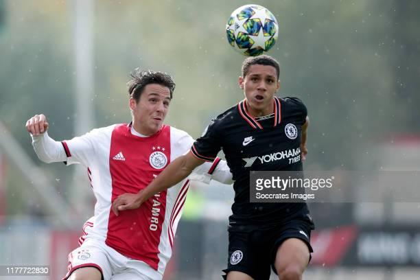 Filip Frei of Ajax U19 Henry Lawrence of Chelsea U19 during the match between Ajax U19 v Chelsea U19 at the De Toekomst on October 23 2019 in...