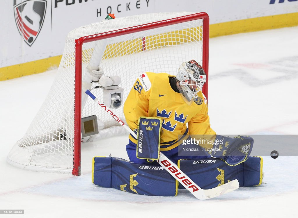 Filip Gustavsson #30 of Sweden makes one of his 29 saves against the United States during the third period of play in the IIHF World Junior Championships Semifinal game at KeyBank Center on January 4, 2018 in Buffalo, New York.