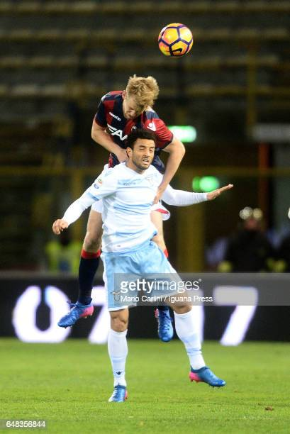Filip Helander of Bologna FC heads the ball during the Serie A match between Bologna FC and SS Lazio at Stadio Renato Dall'Ara on March 5 2017 in...