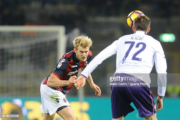 Filip Helander of Bologna FC in action during the Serie A match betweenBologna FC and ACF Fiorentina at Stadio Renato Dall'Ara on October 29 2016 in...