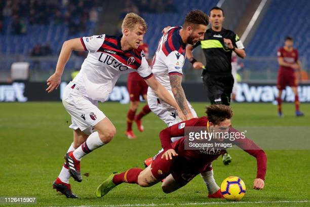 Filip Helander of Bologna FC Mitchell Dijks of Bologna FC Nicolo Zaniolo of AS Roma during the Italian Serie A match between AS Roma v Bologna at the...