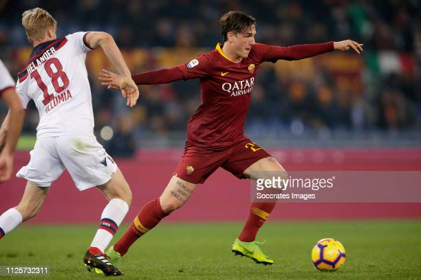 Filip Helander of Bologna FC Nicolo Zaniolo of AS Roma during the Italian Serie A match between AS Roma v Bologna at the Stadio Olimpico Rome on...