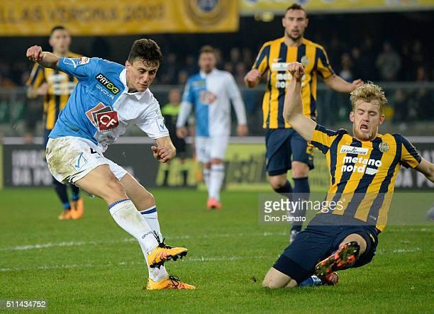 Filip Helander of Hellas Verona competes with Roberto Inglese of Chievo Verona during the Serie A match between Hellas Verona FC and AC Chievo Verona...