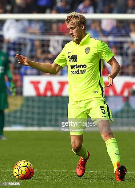 Filip Helander of Hellas Verona FC in action during the Serie A match between UC Sampdoria and Hellas Verona FC at Stadio Luigi Ferraris on October...