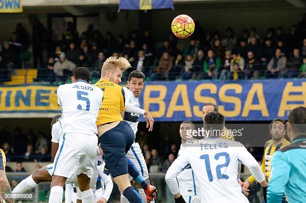 Filip Helander of Hellas Verona scoring his teams first goal during the Serie A match between Hellas Verona FC and FC Internazionale Milano at Stadio...