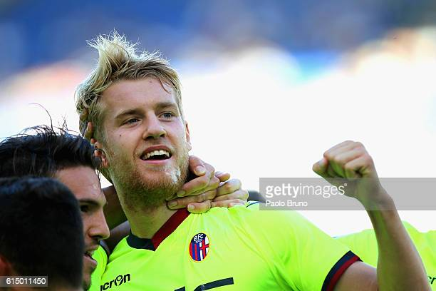 Filip Helander with his teammates of Bologna FC celebrates after scoring the opening goal during the Serie A match between SS Lazio and Bologna FC at...