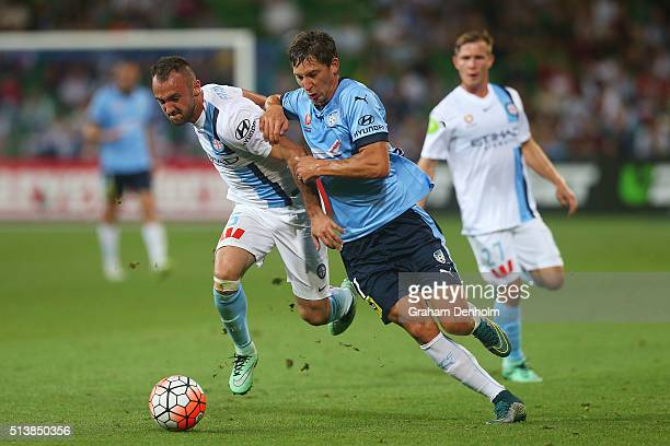 Filip Holosko of Sydney FC and Ivan Franjic of Melbourne City contest the ball during the round 22 ALeague match between Melbourne City FC and Sydney...