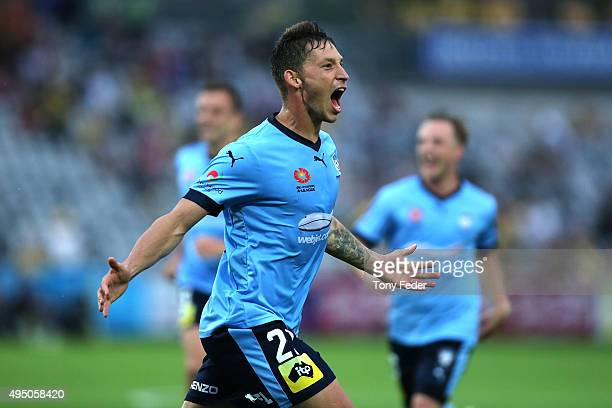 Filip Holosko of Sydney FC celebrates a goal during the round four A-League match between the Central Coast Mariners and Sydney FC at Central Coast...