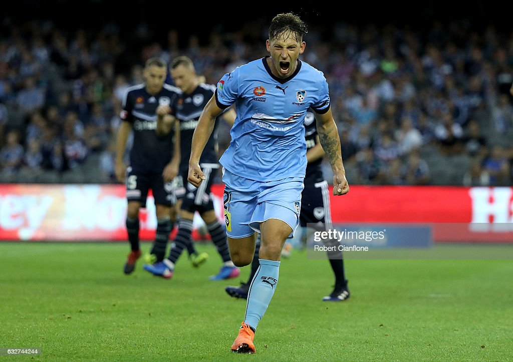 Filip Holosko of Sydney FC celebrates after scoring a goal during the round 17 A-League match between the Melbourne Victory and Sydney FC at Etihad Stadium on January 26, 2017 in Melbourne, Australia.