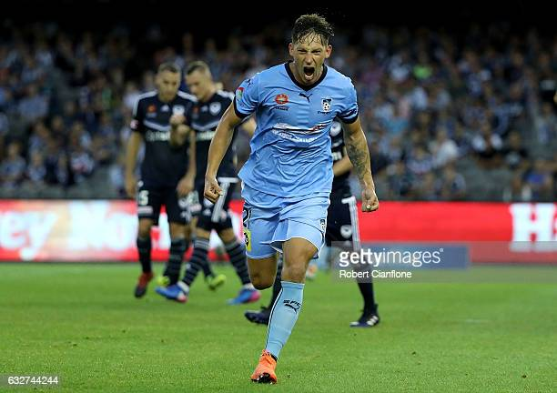 Filip Holosko of Sydney FC celebrates after scoring a goal during the round 17 ALeague match between the Melbourne Victory and Sydney FC at Etihad...