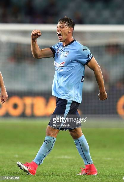 Filip Holosko of Sydney FC celebrates after scoring his teams third goal during the ALeague Semi Final match between Sydney FC and the Perth Glory at...