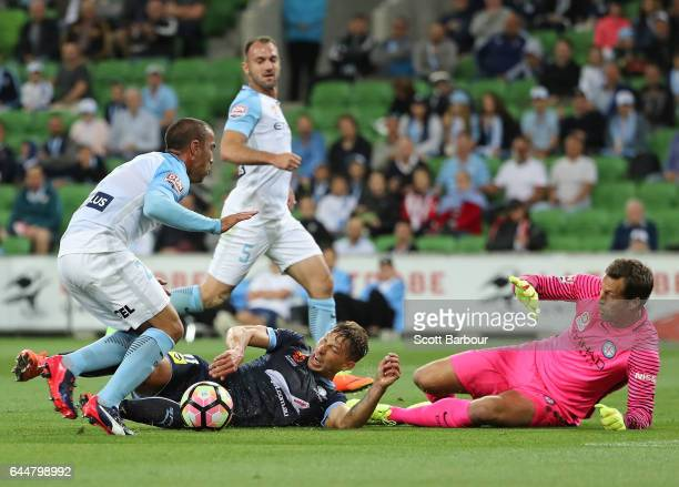 Filip Holosko of Sydney FC is fouled by Manny Muscat of City which resulted in a penalty and a goal during the round 21 ALeague match between...