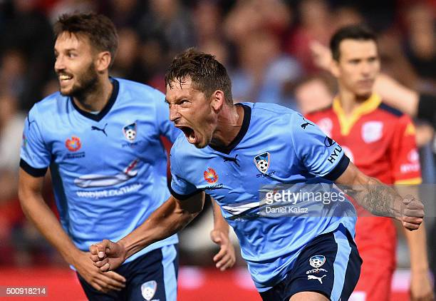 Filip Holosko of Sydney reacts after scoring a goal during the round 10 A-League match between Adelaide United and Sydney FC at Coopers Stadium on...