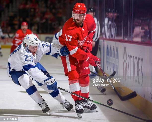 Filip Hronek of the Detroit Red Wings battles for the puck with Carter Verhaeghe of the Tampa Bay Lightning during an NHL game at Little Caesars...