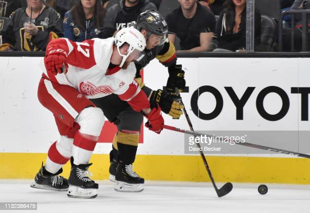 Filip Hronek of the Detroit Red Wings battles Jonathan Marchessault of the Vegas Golden Knights for the puck during the first period at TMobile Arena...