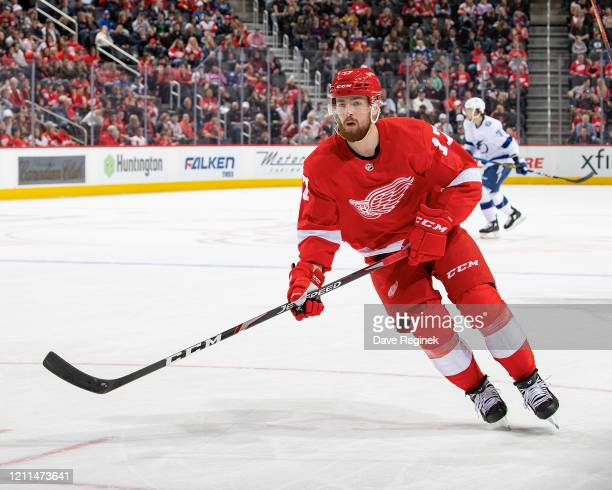 Filip Hronek of the Detroit Red Wings follows the play against the Tampa Bay Lightning during an NHL game at Little Caesars Arena on March 8, 2020 in...