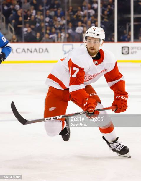 Filip Hronek of the Detroit Red Wings follows the play down the ice during first period action against the Winnipeg Jets at the Bell MTS Place on...