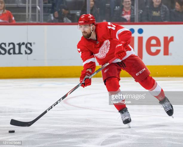 Filip Hronek of the Detroit Red Wings passes the puck against the Tampa Bay Lightning during an NHL game at Little Caesars Arena on March 8, 2020 in...