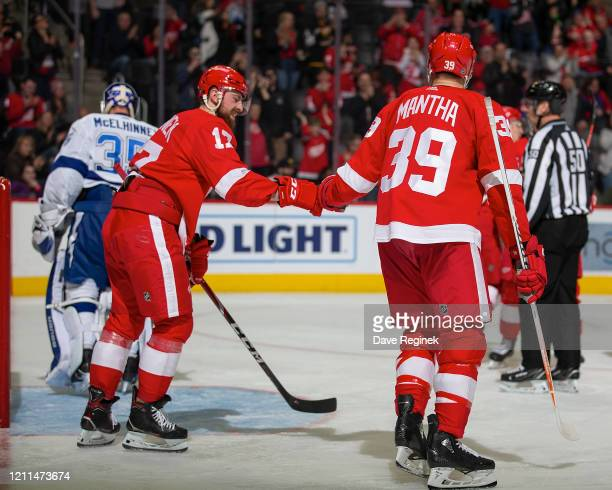Filip Hronek of the Detroit Red Wings pounds gloves with teammate Anthony Mantha after a goal against the Tampa Bay Lightning during an NHL game at...