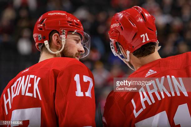 Filip Hronek of the Detroit Red Wings talks with teammate Dylan Larkin on a play stoppage during an NHL game against the Chicago Blackhawks at Little...