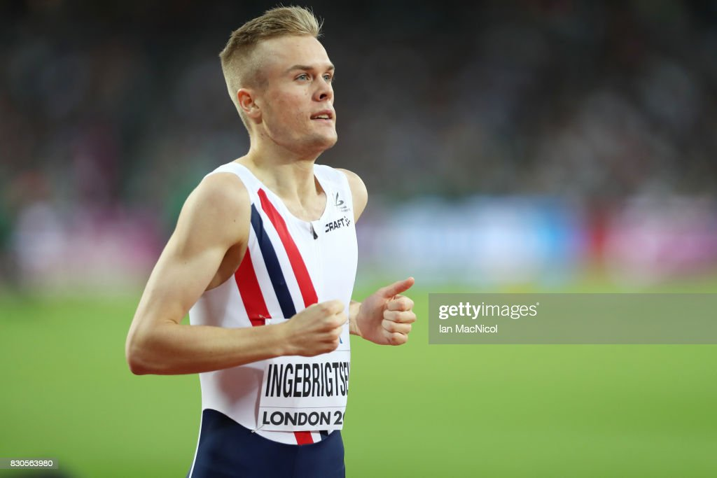 Filip Ingebrigsten of Norway competes in the Men's 1500m semi final during day eight of the 16th IAAF World Athletics Championships London 2017 at The London Stadium on August 11, 2017 in London, United Kingdom.