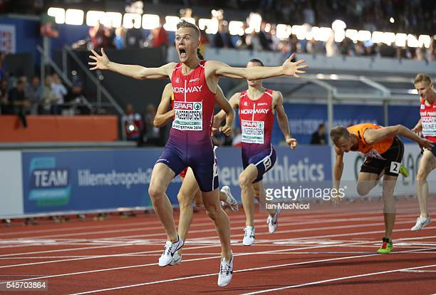 Filip Ingebrigtsen of Norway celebrates victory in The 1500m during Day Four of The European Athletics Championships at Olympic Stadium on July 9,...