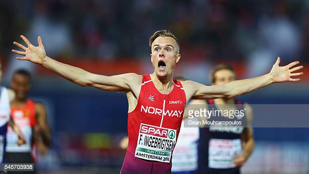 Filip Ingebrigtsen of Norway celebrates winning gold in the mens 1500m on day four of The 23rd European Athletics Championships at Olympic Stadium on...
