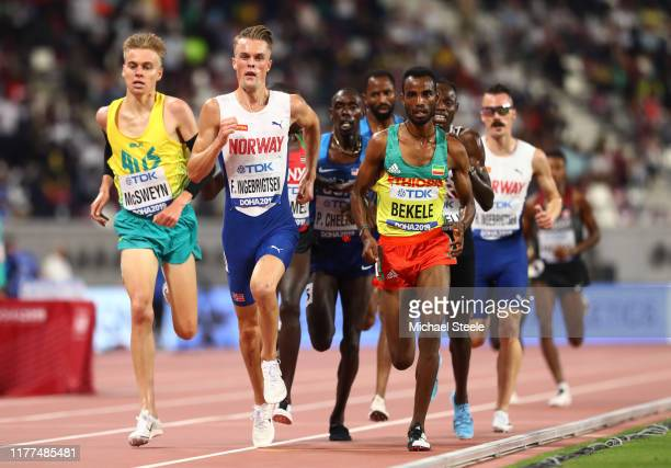 Filip Ingebrigtsen of Norway competes in the Men's 5000 metres heats during day one of 17th IAAF World Athletics Championships Doha 2019 at Khalifa...