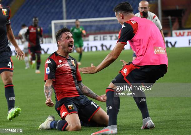 Filip Jagiello of Genoa CFC Celebrates after goal 2-1 during the Serie A match between Genoa CFC and US Lecce at Stadio Luigi Ferraris on July 19,...