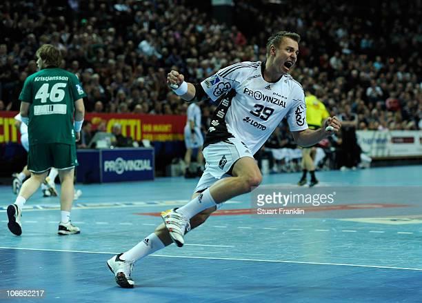 Filip Jicha of Kiel celebrates a goal during the Toyota Handball Bundesliga match between THW Kiel and HSG Wetzlar at the Sparkassen Arena on...