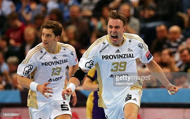 Filip Jicha of Kiel celebrates after scoring during the EHF Champions League second leg round of sixteen match between THW Kiel and Chekhovskie...