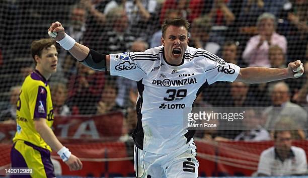 Filip Jicha of Kiel celebrates during the Toyota Handball Bundesliga match between THW Kiel and Fuechse Berlin at Sparkassen Arena on March 28, 2012...