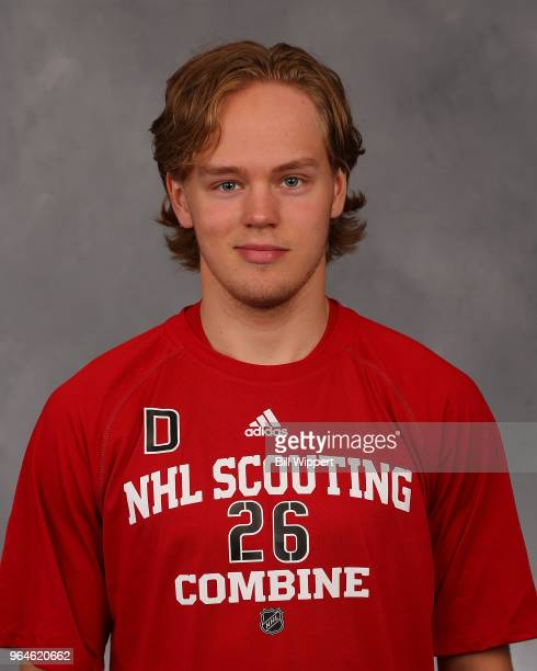 Filip Johansson poses for a headshot at the NHL Scouting Combine on May 31 2018 at HarborCenter in Buffalo New York