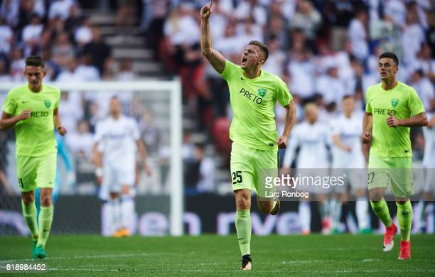 Filip Kasa of MSK Zilina celebrates after scoring their second goal during the UEFA Champions League Qualification match between FC Copenhagen and...