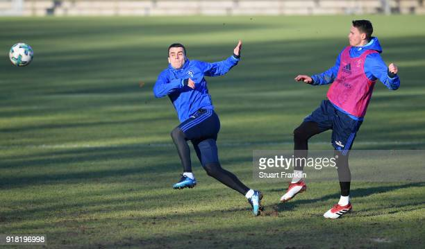 Filip Kostic and Bjarne Thoelke of Hamburg in action during a training session of Hamburger SV at Volksparkstadion on February 14 2018 in Hamburg...