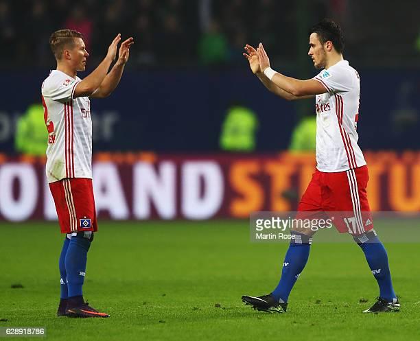 Filip Kostic and Matthias Ostrzolek of Hamburg celebrate during the Bundesliga match between Hamburger SV and FC Augsburg at Volksparkstadion on...