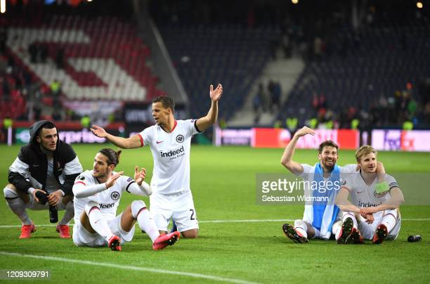Filip Kostic Gonçalo Paciencia Timmy Chandler David Abraham and Martin Hinteregger celebrate victory during the UEFA Europa League round of 32 second...