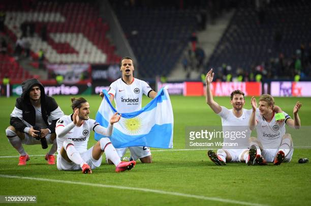 Filip Kostic, Gonçalo Paciencia, Timmy Chandler, David Abraham and Martin Hinteregger celebrate victory during the UEFA Europa League round of 32...