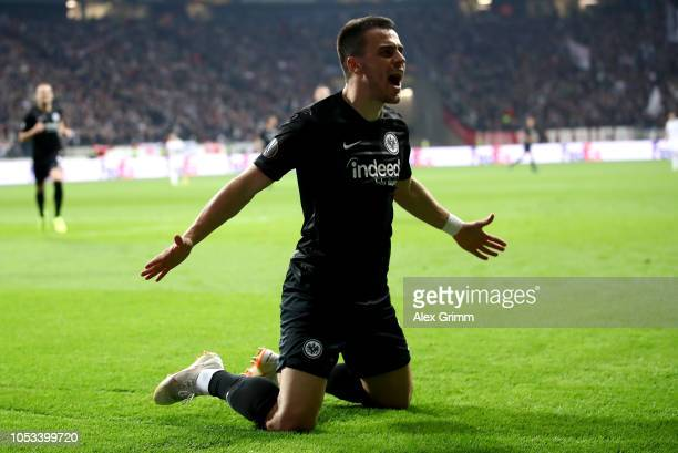 Filip Kostic of Eintracht Frankfurt celebrates after scoring his sides first goal during the UEFA Europa League Group H match between Eintracht...