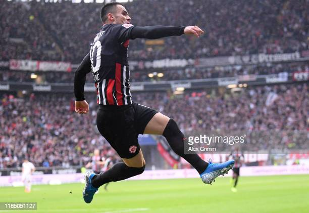 Filip Kostic of Eintracht Frankfurt celebrates after scoring his team's first goal during the Bundesliga match between Eintracht Frankfurt and FC...