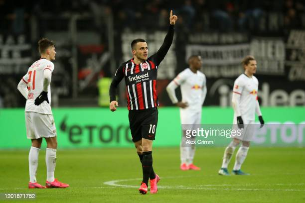 Filip Kostic of Eintracht Frankfurt celebrates after scoring his team's second goal during the Bundesliga match between Eintracht Frankfurt and RB...
