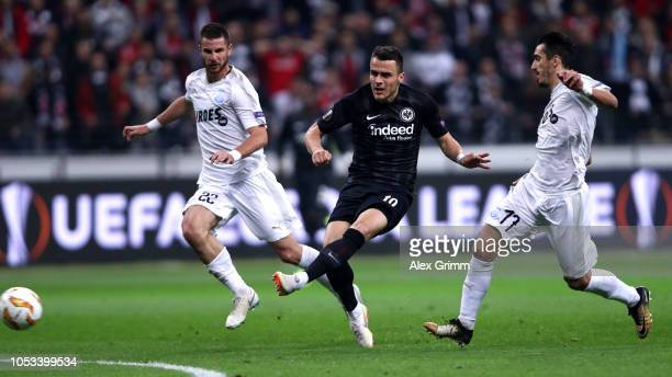 Filip Kostic of Eintracht Frankfurt scores his sides first goal during the UEFA Europa League Group H match between Eintracht Frankfurt and Apollon...