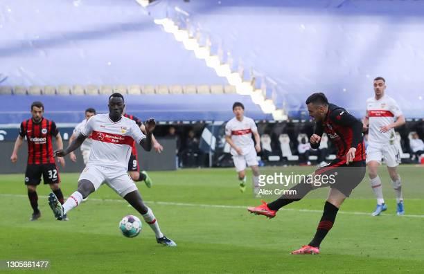 Filip Kostic of Eintracht Frankfurt scores his team's first goal during the Bundesliga match between Eintracht Frankfurt and VfB Stuttgart at...