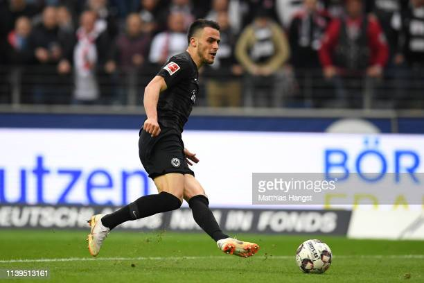 Filip Kostic of Eintracht Frankfurt scores the 2nd goal during the Bundesliga match between Eintracht Frankfurt and VfB Stuttgart at...