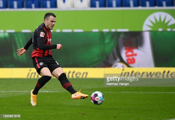 Filip Kostic of Eintracht Frankfurt scores their side's first goal during the Bundesliga match between TSG Hoffenheim and Eintracht Frankfurt at...