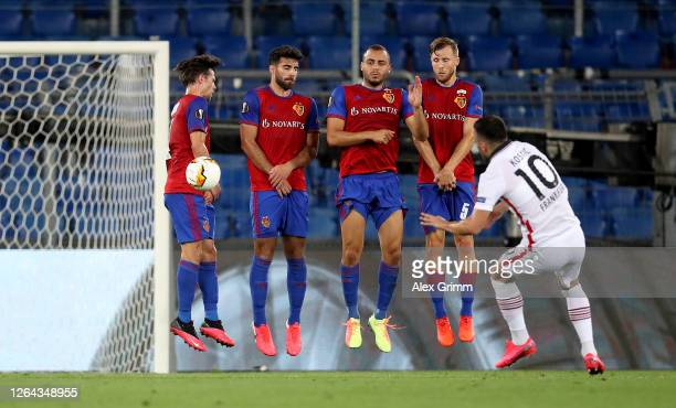 Filip Kostic of Eintracht Frankfurt takes a free-kick during the UEFA Europa League round of 16 second leg match between FC Basel and Eintracht...