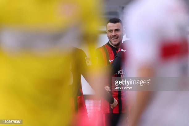 Filip Kostic of Frankfurt celebrates his team's first goal during the Bundesliga match between Eintracht Frankfurt and VfB Stuttgart at Deutsche Bank...