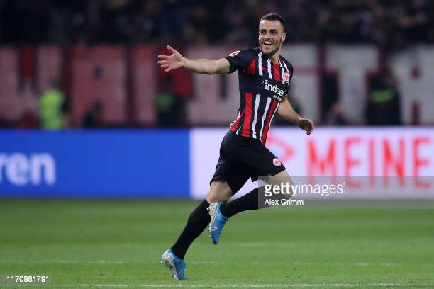 Filip Kostic of Frankfurt celebrates his team's second goal during the second leg of the UEFA Europa League playoff match between Eintracht Frankfurt...